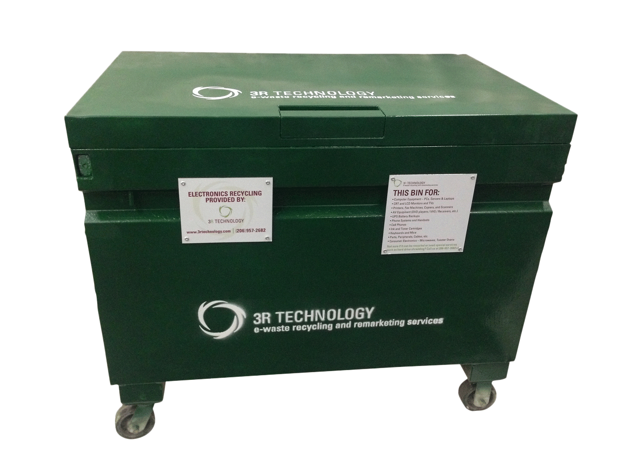 Secure Locking Bin Service - This collection bin is perfect for items and material that need additional security such as mobile devices, hard drives, media, and other items for destruction.
