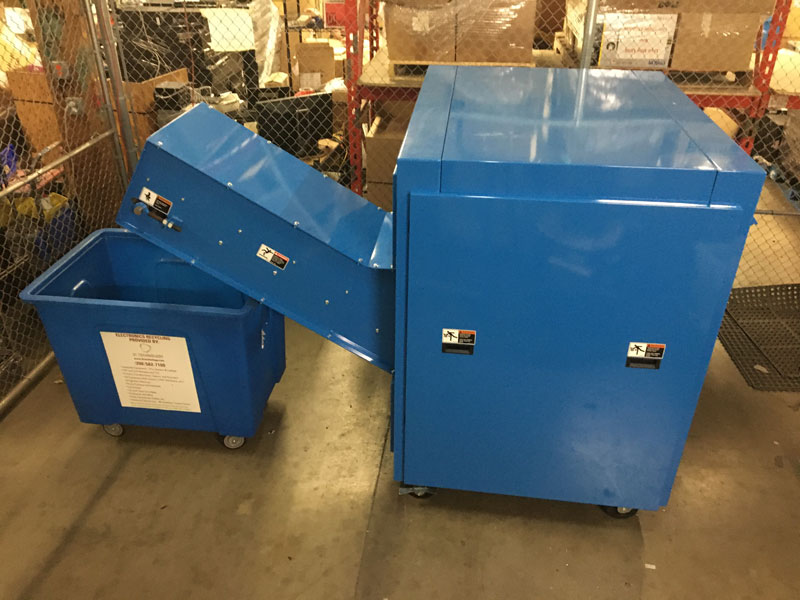Our 20 HP Dedicated Hard Drive Shredder - Can Shred Up to 2400 Drives an Hour