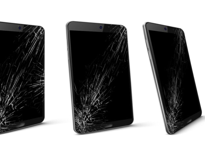 Mobile phone with broken screen front and side view, smashed smartphone, shattered electronics device with black touchscreen covered with scratches and cracks, Realistic 3d vector illustration, set