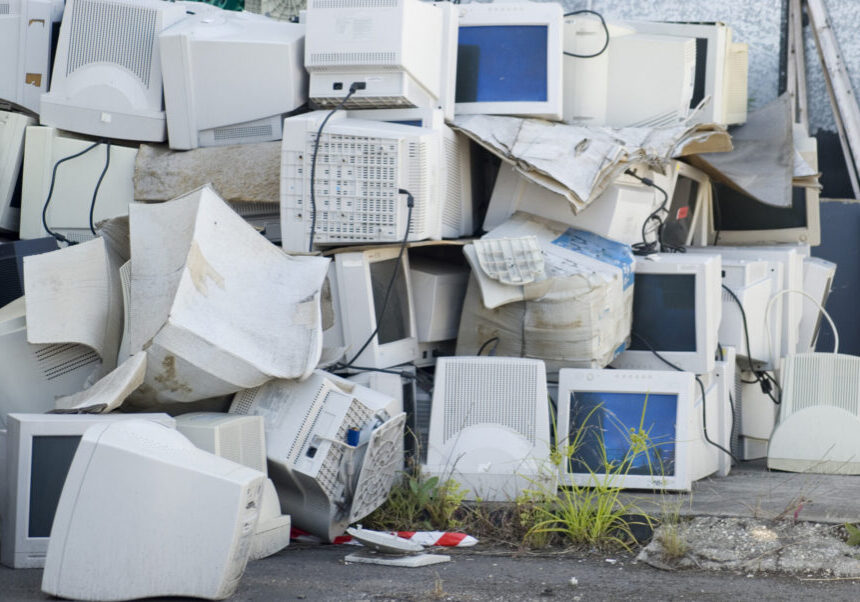 A large pile of unwanted CRT monitors, what will happen with these?