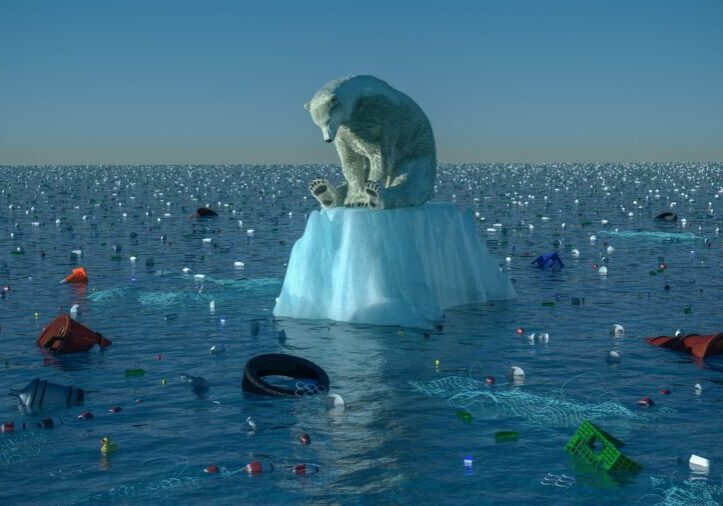 High resolution digital image depicting a single, sad, dirty polar bear, floating on a dwindling chunk of ice, in the center of vast ocean garbage patch. Image is intended to illustrate themes like environmental degredation, ocean pollution, habitat loss, global warming, and climate change in general.
